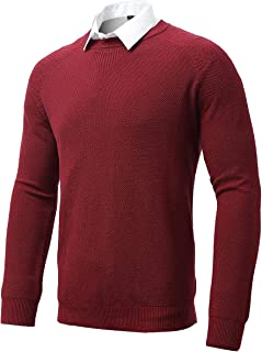 FLY HAWK Mens Pullover Sweaters, Regular Fit Crewneck Long Sleeves 100% Cotton Knitted Pullovers for Men