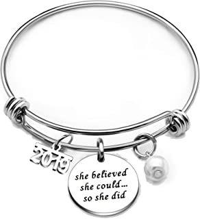 Inspirational Bangle Bracelet Graduation Jewelry Gift for Women Girl Stainless Steel 2019 She Believed She Could So She Did