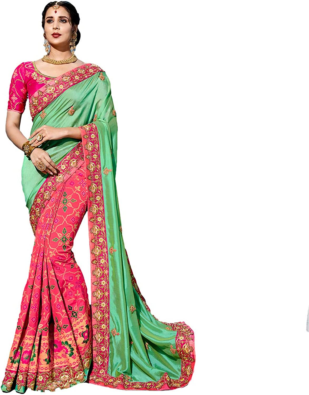 DesiButik's Party Wear Alluring Green And Pink Silk Saree