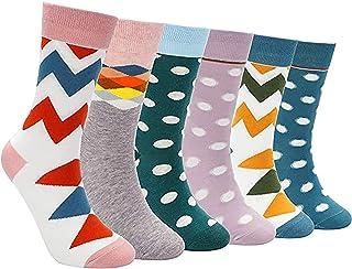 EXTSUD, Calcetines de Mujer, 6 Pares Calcetines de Algodón para Chica y Mujer, Talla 35 a 42