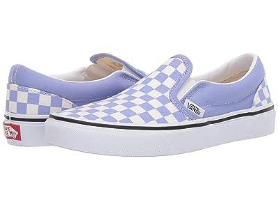 Vans Kids Classic Slip-On (Big Kid) ((Checkerboard) Pale Iris/True White) Girls Shoes
