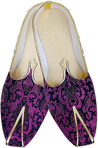 INMONARCH Herren Lila Hochzeit Schuhe Blaumenmuster MJ013030
