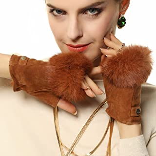 Women's Suede Leather Fingerless Gloves with Rabbit Fur Trim