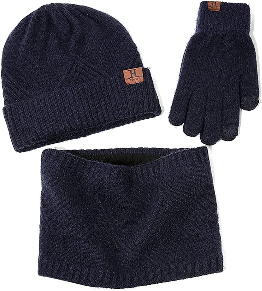 Lnrueg Hat Scarf Gloves Set National uniform free shipping Wat Soft Thick Breathable Loop overseas