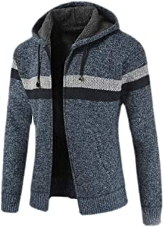 Macondoo Men Casual Hoodie Contrast Color Sherpa Lined Knit Outwear Cardigans Coat