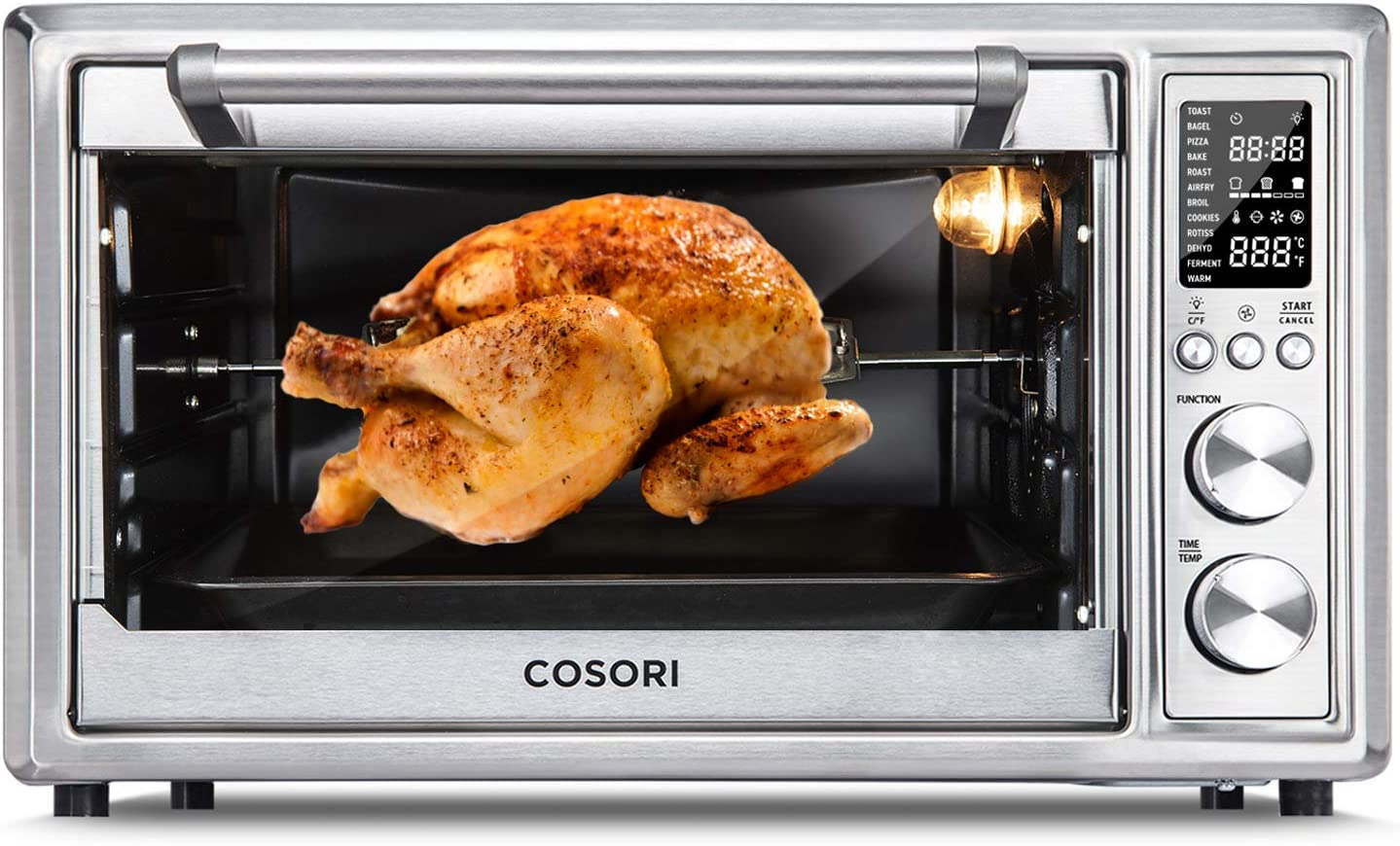 COSORI CO130-AO Air Fryer Toaster Combo 30L 12 Functions Large Countertop Oven, Rotisserie & Dehydrator with 1800W, 100 Recipes & 6 Accessories Included, Manual-Silver