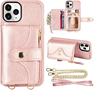 LAMEEKU iPhone 11 Pro Max Wallet Case, Leather Wallet Case with Card Holder Zipper Wallet Case for Women with Wrist Strap Absorbing Bumper Compatible with iPhone 11 Pro Max, 6.5 Inch-Rose Gold