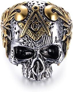 eejart 316L Stainless Steel Classic Masonic Skull Head...
