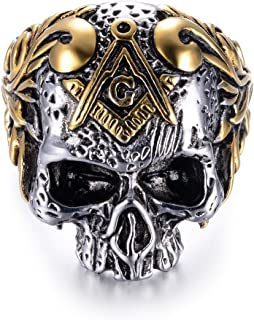 316L Stainless Steel Classic Masonic Skull Head Rings, Suitable for Hiphop Biker Domineering Punk Ring for Men
