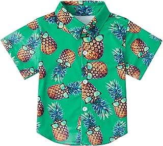Little & Big Boys Button Down Shirts Hawaiian Aloha Short Sleeve Party Camp Holiday Casual Novelty Dress Shirt (Size 2-14T)