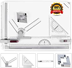 ONDY Drafting Board Portable A3 Drawing Board Multi-Function Drafting Table Set, Architectural Technical Graphic Sketch Set with Set Square, Clamps, Protractor, Anti Slip Support Legs, Sliding Ruler