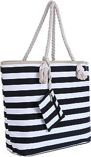 DonDon Große Strandtasche mit Reißverschluss 58 x 38 x 18 cm Maritime Streifen schwarz weiß Shopper Schultertasche Beach Bag