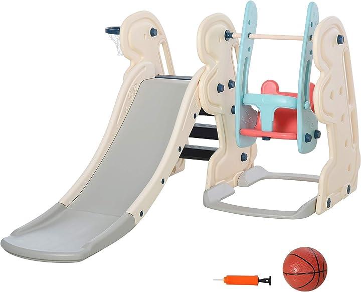 Scivolo per bambini da giardino o da cameretta con altalena,seggiolino e canestro,materiali certificati homcom IT331-0020631