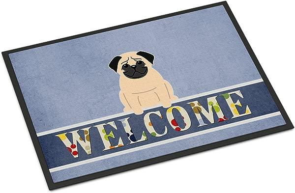 Caroline S Treasures Pug Fawn Welcome Doormat 18 X 27 Multicolor