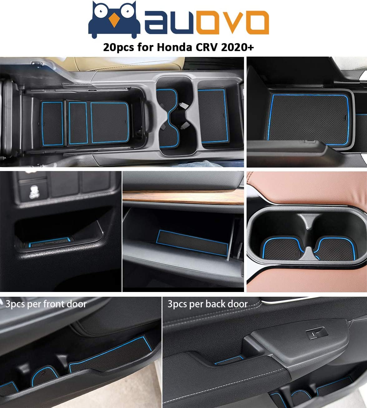 Auovo 20pcs Anti Dust Mats for 2020-2021 Honda CR-V//CRV Accessories Premium Custom Non-Slip Car Cup Holder Inserts Center Console Liner Door Pocket Liners Interior Black Trim
