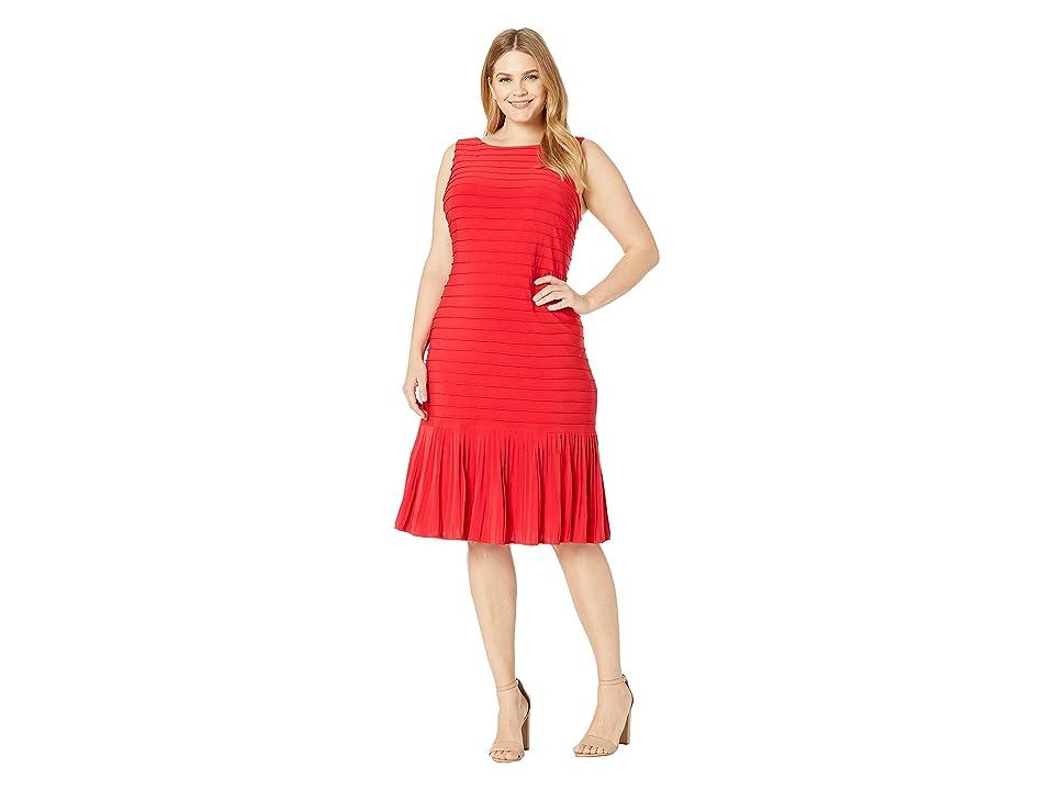 Adrianna Papell Plus Size Matte Jersey Pintucked Midi Sheath Dress with Flounced Hem (Red Fire) Women