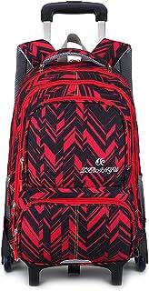 Boys Girls Rolling School Backpacks - Kids Trolley Schoolbag Waterproof Primary Child Bag Outdoor Travelling Nylon Kids Removable Pull Rod Luggage