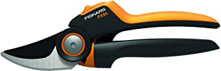 Fiskars Bypass Gardening Shears with Rolling Handle for Fresh Branches and Twigs, Non-Stick Coated, High-Quality Steel Bla...