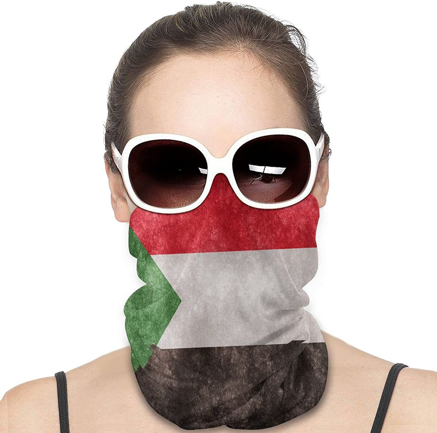 Sudan Flag Round Neck Gaiter Bandnas Face Cover Uv Protection Prevent bask in Ice Scarf Headbands Perfect for Motorcycle Cycling Running Festival Raves Outdoors