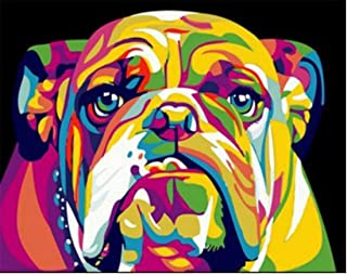 DIY Paint by Numbers for Adults Kids, Komking Paintworks Paint by Number Kits on Canvas, Colorful Dog 16x20inch