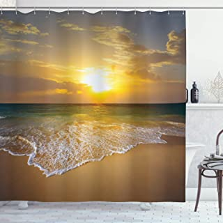 Ambesonne Ocean Decor Shower Curtain by, Long Thin Calm Spumous Sea Waves Covers Sandy Beach at a Mystic Sunset View, Polyester Fabric Bathroom Set with Hooks, 69X84 Inches, Mustard Teal and Merigold