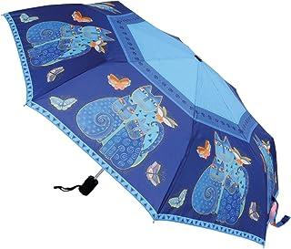 """Laurel Burch Compact Umbrella 42"""" Canopy Auto Open/Close-Indigo Cats"""