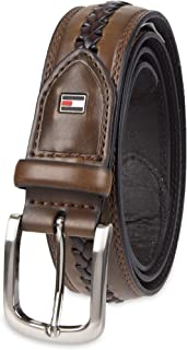 Men's Casual Belt - Fabric and Leather Strap with Classic Single Prong Buckle