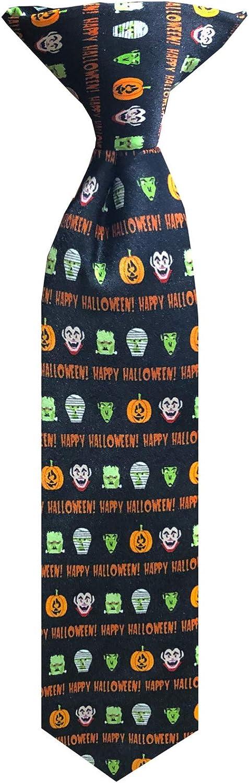 Boys' Happy Halloween Monsters Frankenstein Mummy Witches Jack-O-'Lantern 11 inch Clip-On Neck Tie