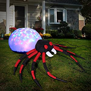 Sizonjoy 4 Ft Halloween Inflatable Spider Decoration,Projection Kaleidoscope LED Lights Spider Decorations for Home Yard Lawn Garden Indoor Outdoor