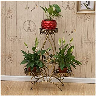Flower stand Flower Stand, Wrought Iron Metal Vertical Flower Stand With Wheel 3 Pot Rack Balcony Decoration Frame (Color ...