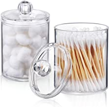 AOZITA 2 Pack Qtip Holder Dispenser for Cotton Ball, Cotton Swab, Cotton Rounds, Floss - 10 oz Plastic Apothecary Jars for...