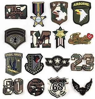Bella 16pcs Parches Apliques Sticker Parche Patches Bordado Termoadhesivo Patch Estados Unidos America Militar Insignia Badge Águila Cool para Camiseta Jeans Ropa Bolsas Regalo