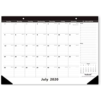 Nekmit 2020-2021 Monthly Desk Pad Calendar, Academic Year Wall Calendar Perfect for Home Schooling Plan & Schedule, Ruled Blocks, 16-3/4 x 11-4/5 Inches, Black