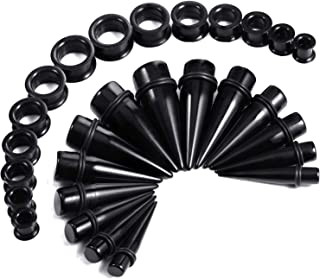 28PC Big Gauges Kit Ear Stretching 00G-22mm Acrylic Taper Silicone Plug Tunnels Piercing