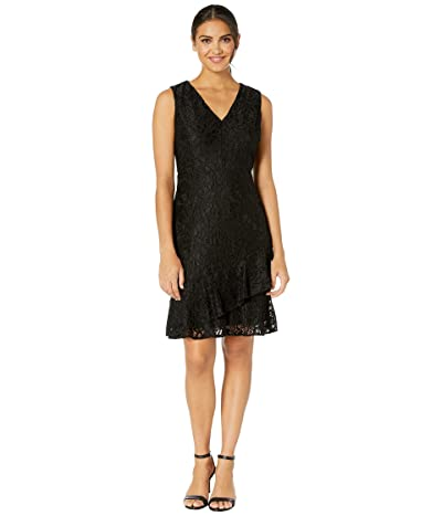 Sam Edelman Ruffle Tiered Lace Dress (Black) Women