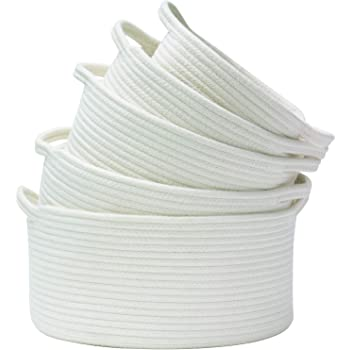 Storage Baskets Set of 5- Woven Basket Cotton Rope Bin, Small White Basket Organizer for Baby Nursery Laundry Kid's Toy Neutral Color