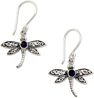 925 Sterling Silver Amethyst Dangle Hook Earrings,...