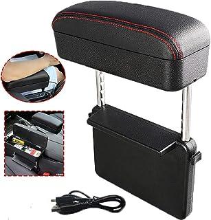 PLOKM Car Armrest Box Wireless Charging Center Console Organizer Tray Leather Soft Adjustable Height Anti-Fatigue Seat Armrest Retrofit