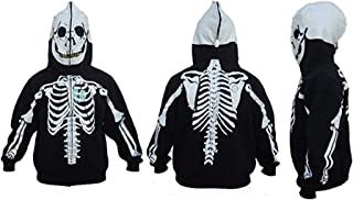 Skeleton Hoodie Men's Halloween Costume Full Zip Up Black S-3XL