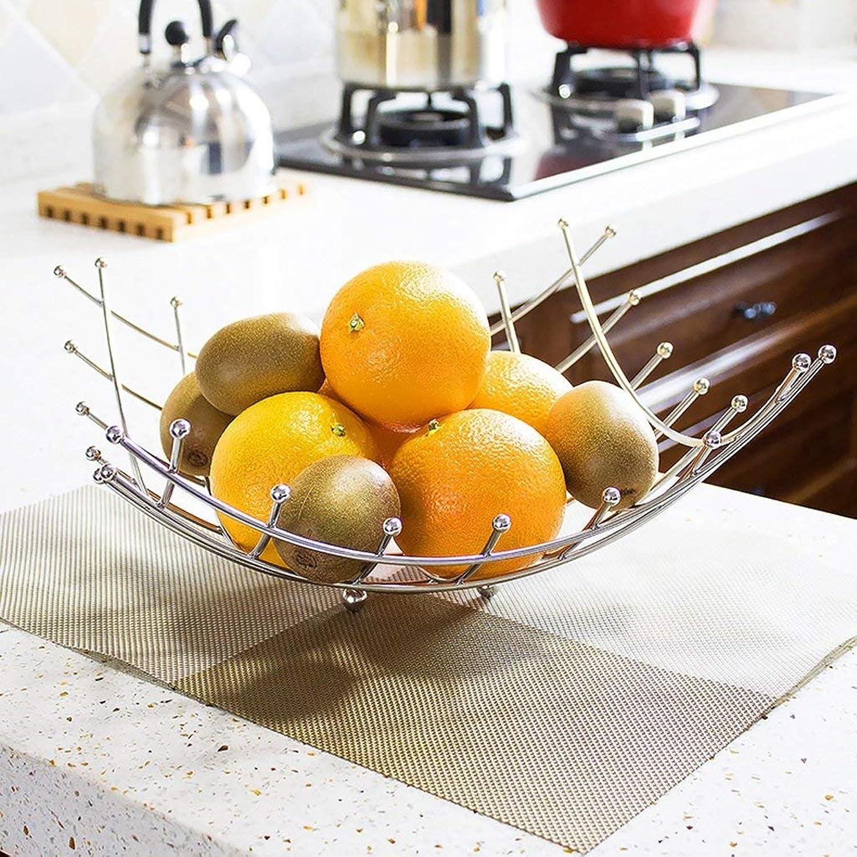 cómodo JFFFFWI Cesta de Fruta Fruta Fruta del Enrejado de los artículos para el hogar del Plato de Fruta de la Plata del Acero Inoxidable, Capacidad Grande  grandes ofertas