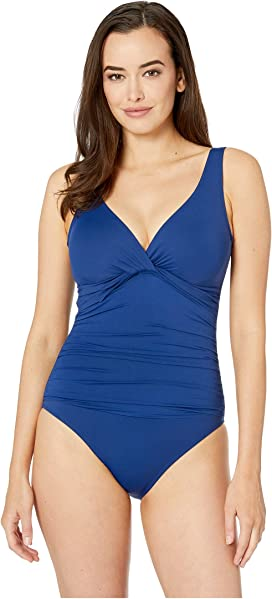 259072bb56 Beach Club Solids Twist Over the Shoulder Underwire One-Piece. 35. LAUREN  Ralph Lauren