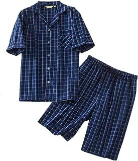 Men's Cotton Woven Short Sleeve Pajama Set Short Sleepwear
