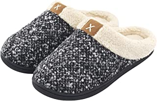 ULTRAIDEAS Women's Cozy Memory Foam Slippers Fuzzy Wool-Like Plush Fleece Lined House Shoes w/Indoor, Outdoor Anti-Skid Rubber Sole