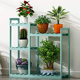 Estantería para Macetas, 69.5 x 25 x 78cm Soporte de Bambú para Plantas Flores, Estantería Decorativa de Macetas con 5 Estantes, para Exterior Interior Jardín