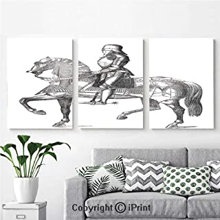 3PCS Triple Decoration Painting Wall Mural Retro Vintage Stylized Illustration of Middle Age Renaissance Knight on The Horse Living Room Dining Room Studying Aisle Painting,16