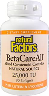 Natural Factors, BetaCareAll 25,000 IU, Antioxidant Support for Healthy Skin, Vision and Immune Function, 90 softgels (90 ...