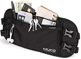 muco Money Belt Travel, Hidden Passport Holder, RFID Blocking Travel Wallet Women Men