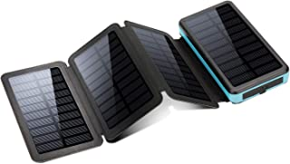 X-DNENG モバイルバッテリー ソーラーチャージャー 20000mAh 大容量 ソーラーモバイルバッテリー パネルが取り外し可能 3A急速充電器 太陽光で充電でき 2USB出力ポート TYPE-C入力可 折りたたみ式 4枚ソーラーパネル 高い転換率 LEDランプ搭載 SOS機能【PSE認証済み】 防水 防塵 耐衝撃 モバイル 充電器 iphone スマホ 携帯 対応 地震/災害/旅行/出張/アウトドアに大活躍 (ブルー)