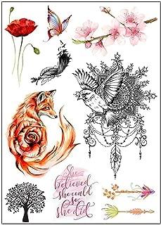 BESTPICKS Large Waterproof Fashion Temporary Tattoo Sticker - FOX, BELIEF, BUTTERFLY, FLOWERS, TREE, BIRDS - 14.5 X 21 cm Sheet