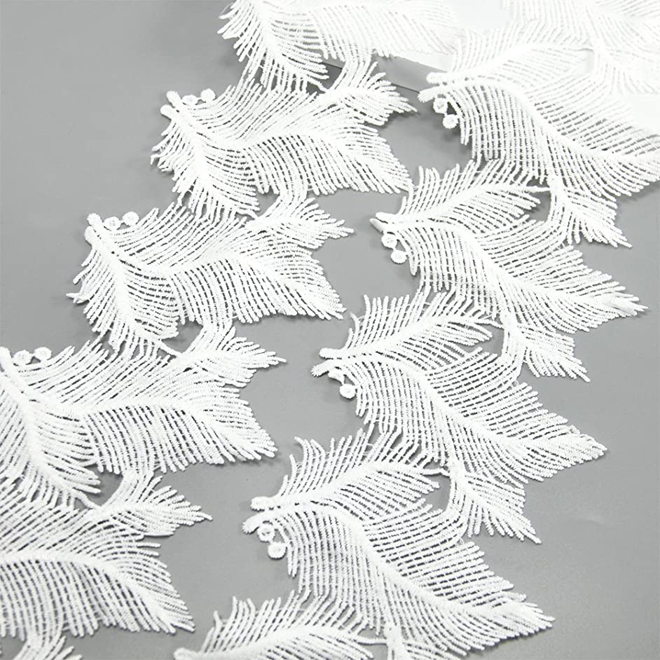 5 Yards White Cotton Feather Lace Trim Applique Sewing DIY Craft Lace for Festival Wedding Party Birthday Bridal Shower Decoration and DIY Handmade Accessories (Feather)